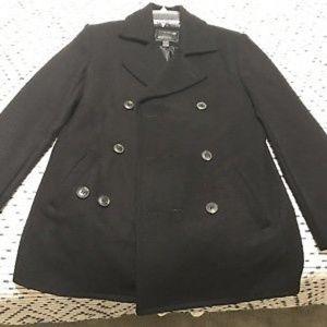 H&M Forever 21 Men's Black Wool Peacoat Pea Coat O